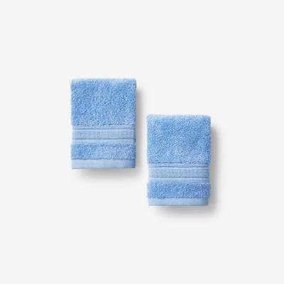 Company Cotton Blue Water Solid Turkish Cotton Wash Cloth (Set of 2)