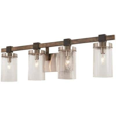 Bridlewood 4-Light Stone Grey with Brushed Nickel Bath Light with Clear Seedy Glass