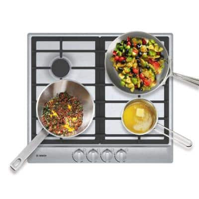 500 Series 24 in. Gas Cooktop in Stainless Steel with 4 Burners including 11,500 BTU Burner