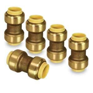 1 in. Straight Coupling Pipe Fittings Push to Connect PEX Copper CPVC Brass (5-Pack)