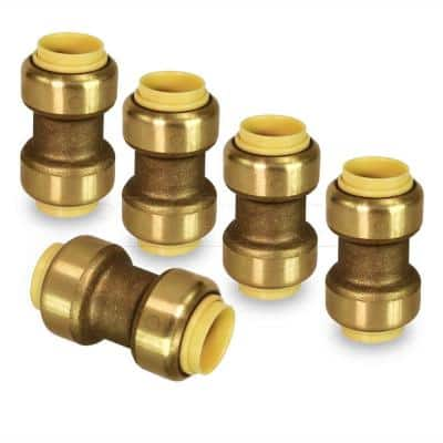 3/4 in. Straight Coupling Pipe Fittings Push to Connect PEX Copper CPVC Brass (5-Pack)