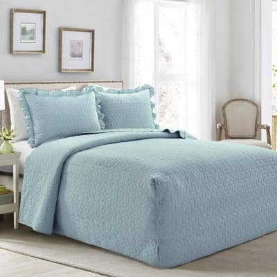 French Country Geo Ruffle Skirt 3-Piece Blue Queen Bedspread Set