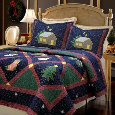 Christmas Silent Night Starry Sky Cabin 3-Piece Blue Green Red Holiday Patchwork Applique Cotton Queen Quilt Bedding Set