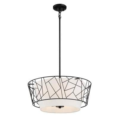 5-Light Oil Rubbed Bronze Pendant with White Linen Shade
