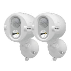 NetBright Networked Outdoor 200 Lumen Battery Powered Motion Activated Integrated LED Spotlight, White (2-Pack)