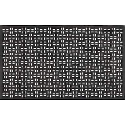 Black 22 in. x 36 in. Rubber Door Mat