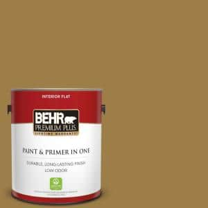 Behr Premium Plus 1 Gal S310 6 Gold Ink Flat Low Odor Interior Paint And Primer In One 130001 The Home Depot
