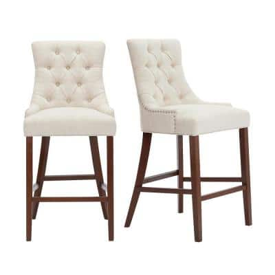 Bakerford Walnut Finish Upholstered Bar Stool with Back and Biscuit Beige Seat (Set of 2) (21.85 in. W x 46.85 in. H)