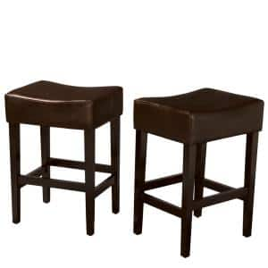 Lopez 26.75 in. Brown Cushioned Counter stool (Set of 2)
