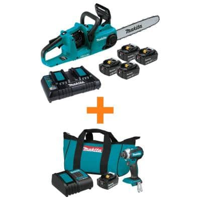 18V X2 (36V) LXT Cordless Li-Ion BL Chain Saw Kit (4 Batteries 5.0Ah) w/ Bonus 18V LXT Impact Driver Kit (3.0Ah Battery)
