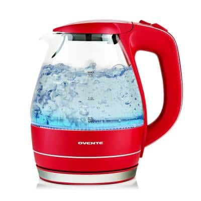 Illuminated 6.5-Cup Red Electric Kettle with Filter, Fast Heating and Auto-Shut Off