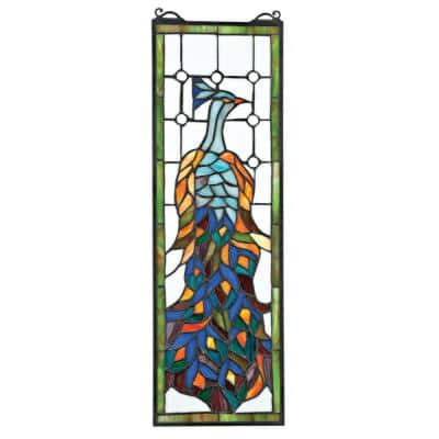 Pleasant Peacock Stained Glass Window Panel