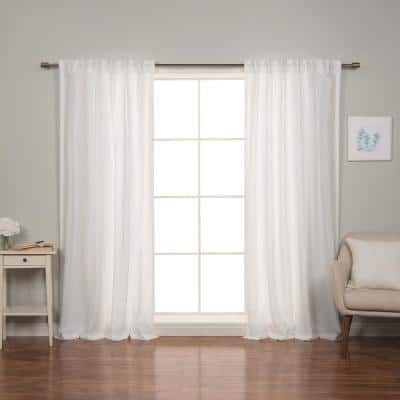96 In. Linen Back Tab Curtain Set in White