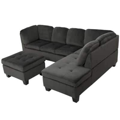 3-Piece Charcoal Fabric 6-Seater L-Shaped Right-Facing Sectional Sofa with Ottoman