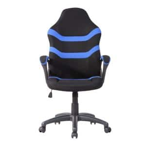 Blue Ergonomic Fabric Upholstery Gaming Chair with Adjustable Height and Back Support for Home or Office