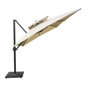 12 ft. x 9 ft. Aluminum Cantilever Patio Umbrella with Cross Base in Beige