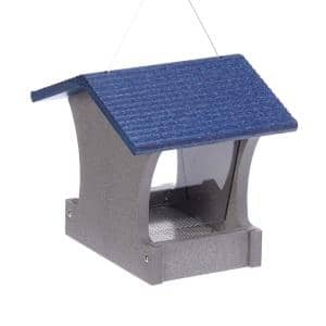 2 Qt. Green Solutions Hopper Feeder Gray with Blue Roof Small