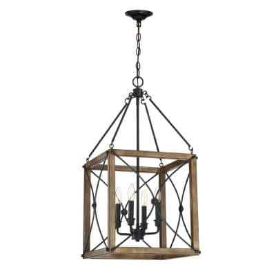 Open Cage 4-Light Painted Wood with Vintage Black Pendant