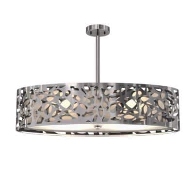 Expression 2-Light Stainless Steel Oval Chandelier with Glass Shade