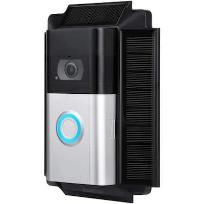 Black Solar Charger Mount for Ring Video Doorbell 3, 3 Plus and 4 - Power Your Ring Doorbell (5-Volt 0.6-Watt)