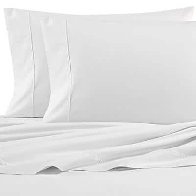 NA T200 Solid 4-Piece White Cotton Queen Sheet Set