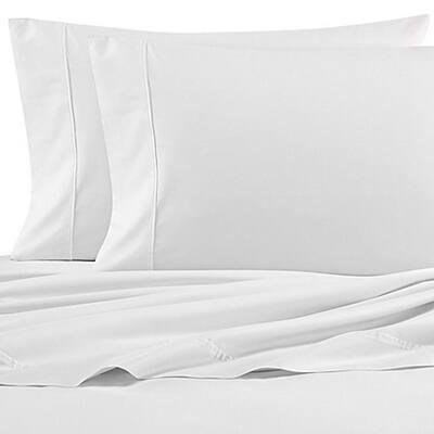 NA T200 Solid 4-Piece White Cotton King Sheet Set