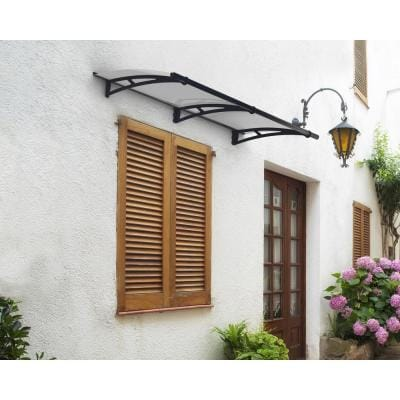 Aquila 3 ft. x 7 ft. Gray/Clear Door and Window Awning