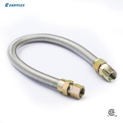 1/2 in. MIP x 1/2 in. FIP x 48 in. Stainless Steel Gas Connector (5/8 in. O.D.) 106,000 BTU