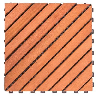 Roch 12-dianogal-slat 12 in. x 12 in. Wood Outdoor Balcony Deck Tile (10 sq. ft. / case)