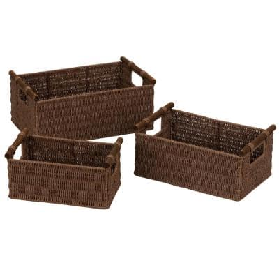 Rich Brown Stained Paper Rope Set of 3 Basket with Wood Handles