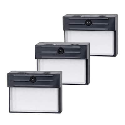 5-Watt Equivalent Integrated LED Black Motion Sensor Linkable Wall Pack Light (3-Pack)