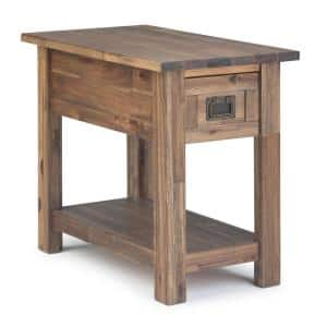 Monroe Solid Acacia Wood 14 in. Wide Rustic Contemporary Narrow Side Table in Rustic Natural Aged Brown