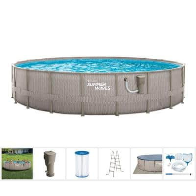 Light Basketweave 20 ft. Round 48 in. D Elite Metal Frame Pool Package with Skimmer Plus Filter Pump