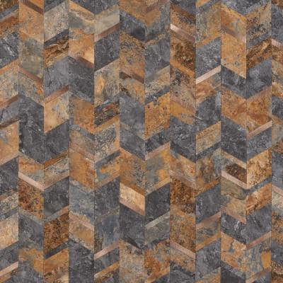 Luxe Core Chevron Copper 11.02 in. x 11.41 in. SPC Peel and Stick Tile (0.87 Sq. Ft. / Sheet)