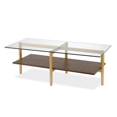 Otto 47 in. Brass/Walnut Large Rectangle Glass Coffee Table with Shelf