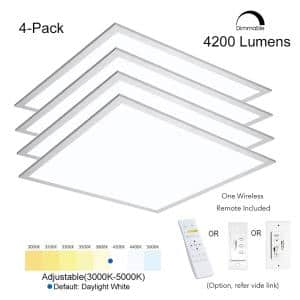 2 ft. x2 ft. 400W Equivalent Integrated LED White Dimmable Drop Ceiling Flat Panel Troffer Light 4200LM 3000-5000 4-Pack
