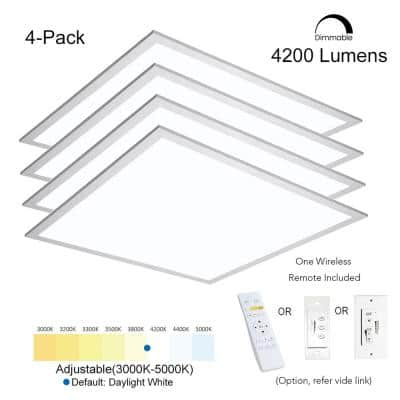2 ft. x 2 ft. Integrated LED 4200LM 400W Equivalent White Dimmable CCT Ultra-Thin Aluminum Panel Troffer Light (4-Pack)