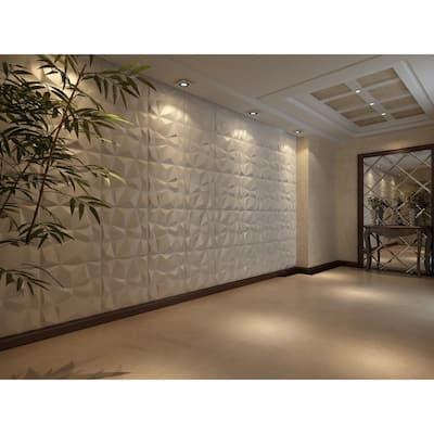 Wallpanel 19.7 in. x 19.7 in. 32 sq. ft. White Diamond PVC 3D Wall Panels (Pack of 12-Tiles)