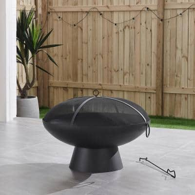 Brooks 31 in. x 19.7 in. Round Charcoal Powder Coated Steel Wood Burning Fire Pit