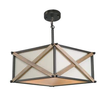 Nezin 16.5 in. 3-Light Bronze Wood Semi-Flush Mount Convertible Pendant