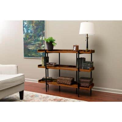 36.25 in. Cherry/Black Metal 3-shelf Accent Bookcase with Open Back