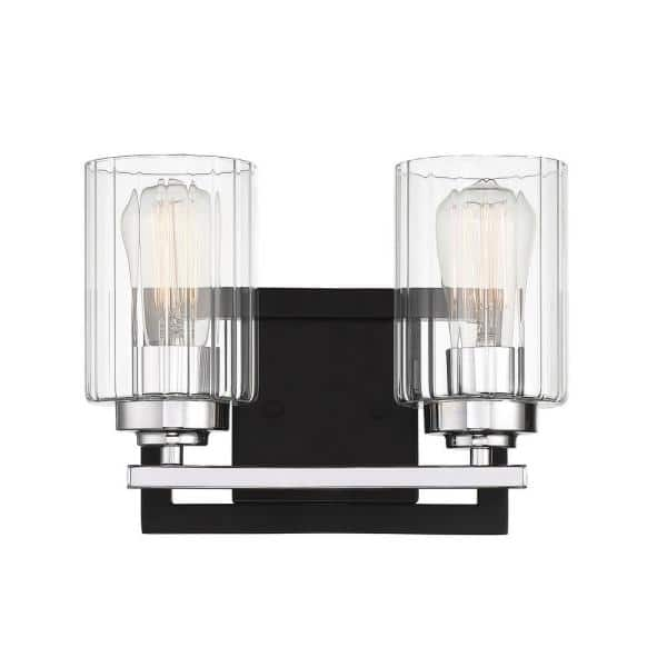 Filament Design 2 Light Matte Black With Polished Chrome Accents Bath Vanity Light With Clear Ribbed Glass Cli Sh281242 The Home Depot