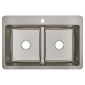 Avenue 18-Gauge Stainless Steel 33 in. Double Bowl Drop-In/Undermount Kitchen Sink with Low Divide