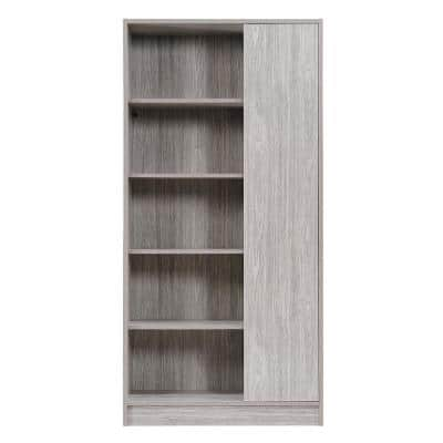 Amelia 64.80 in. Grey Wood 10-Shelf Standard Bookcase