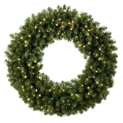Sequoia Fir 48 in. Pre-Lit Artificial Commercial Wreath with 200 Warm White LED Lights