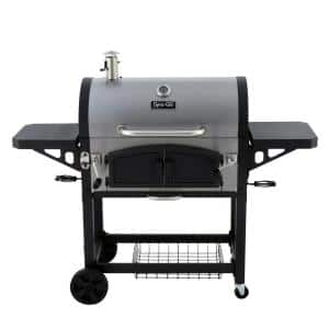 Dual Zone Premium Charcoal Grill in Stainless Steel and Black