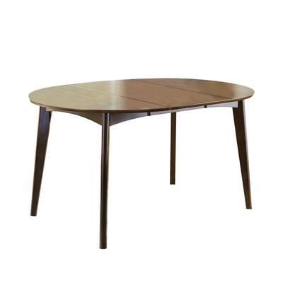 Round Mid century Dark Walnut Brown modern Dining Table
