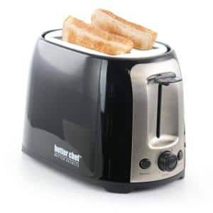 2-Slice Black Wide Slot Toaster with Cool-Touch Exterior