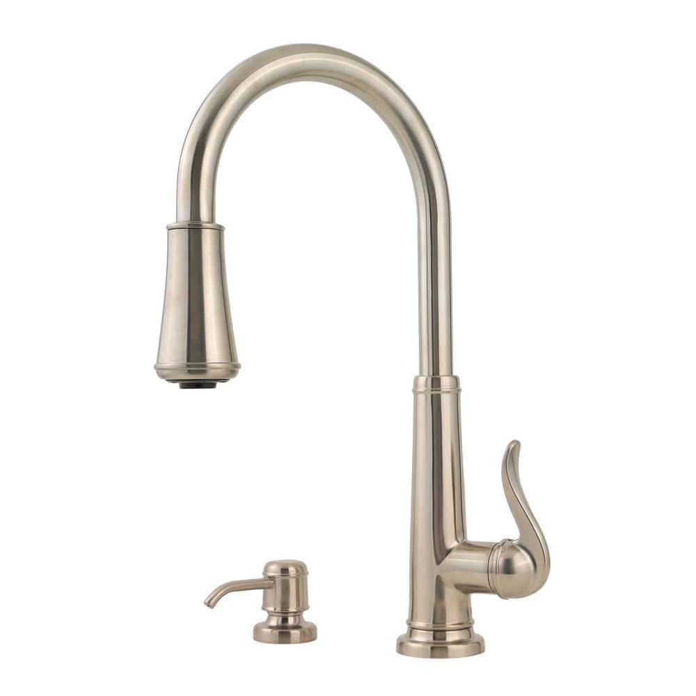 Pfister Ashfield Single Handle Pull Down Sprayer Kitchen Faucet In Brushed Nickel Gt529ypk The Home Depot