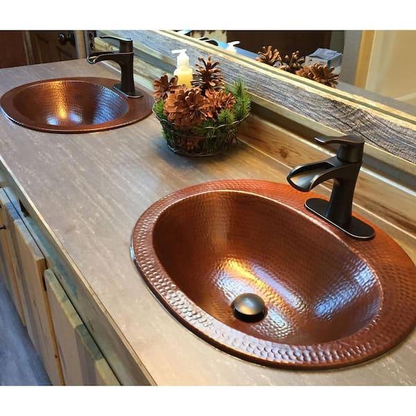 Sinkology Oval Drop In Bathroom Sink, Bathroom Copper Sinks